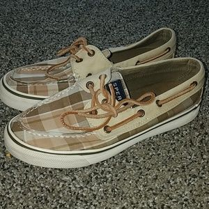 Sperry top slider tan plaid boat shoes 6M